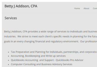 Betty J Addison, CPA